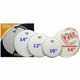 Remo Coated Emperor Pro Pack 10/12/14 Inc FREE 14 inch Drum Head-0