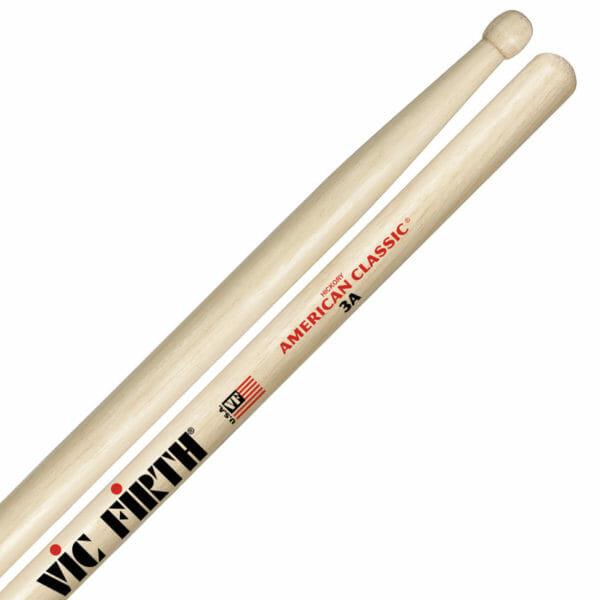 Vic Firth 3A Wood Tip Drum Sticks VF-3A-0