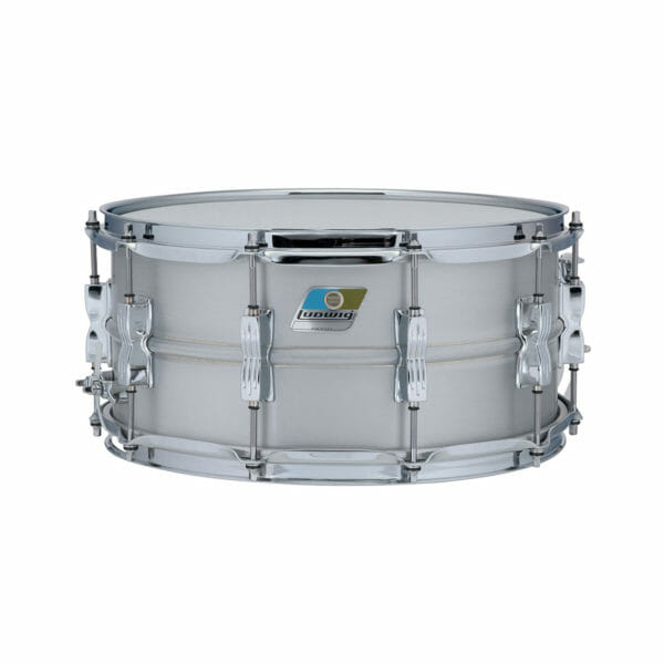 "Ludwig Acrolite LM405C 14x6.5"" Beaded Brushed Aluminum Snare Drum -0"