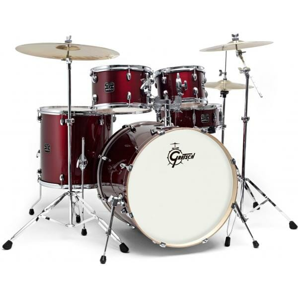 """Gretsch Energy 20"""" Drum Kit with Hardware and 2 Piece Paiste 101 Cymbal Pack - Wine Red"""