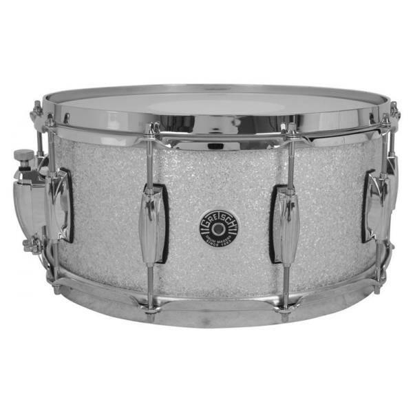 Gretsch Brooklyn Snare Drum Silver Sparkle - 14 x 6.5 Lightning Throw