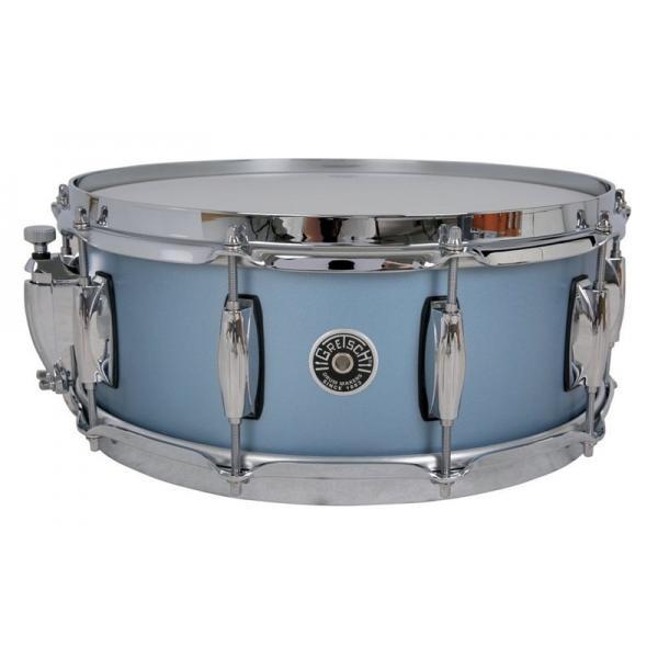 Gretsch Brooklyn Snare Drum Satin Ice Blue Metallic - 14 x 6.5 Lightning Throw