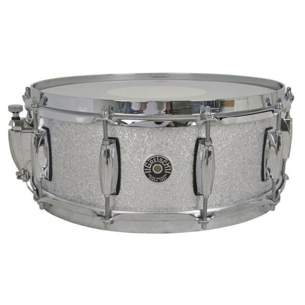 Gretsch Brooklyn Snare Drum Silver Sparkle - 14 x 5.5 Lightning Throw