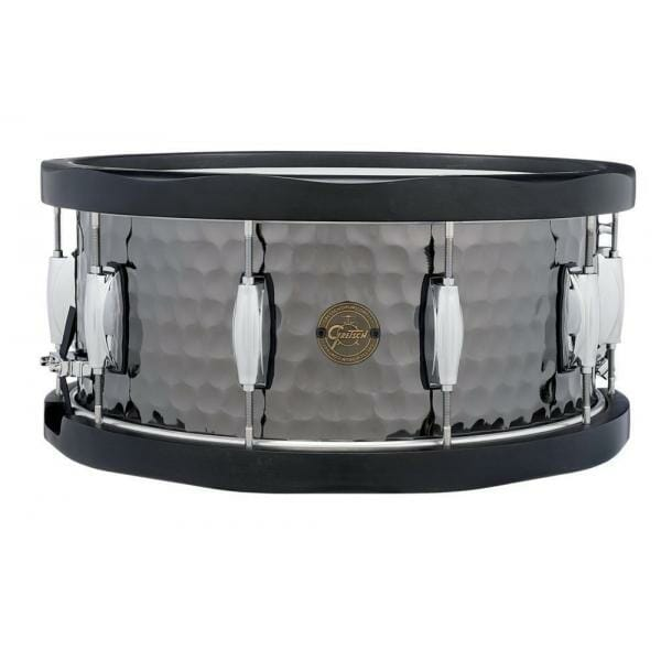 "Gretsch 14"" x 6.5"" Full Range Series Hammered Black Steel Snare Drum with black wood hoops"