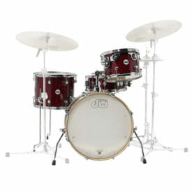 """DW Design Series Frequent Flyer, 12""""/14""""/20""""/14""""SD Shell Pack, Gloss Lacquer, Cherry Stain"""