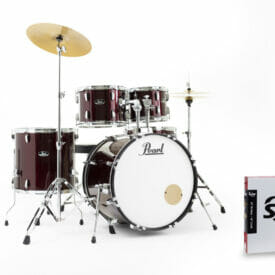 """Pearl Roadshow 22"""" Drum Kit with Free Stick Bag and Sabian Solar Cymbals - Red Wine"""