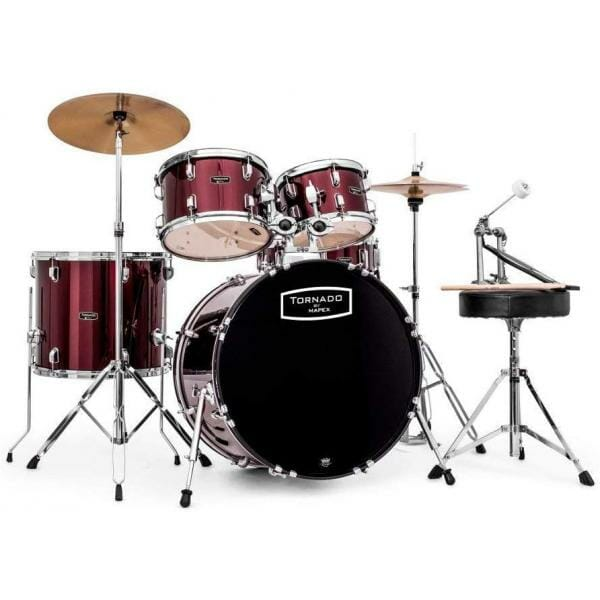 "Mapex Tornado Starter Drum Kit - 18"" COMPACT - Burgundy With Cymbals"
