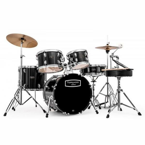 """Mapex Tornado Starter Compact Drum Kit - 18"""" Black With Cymbals"""