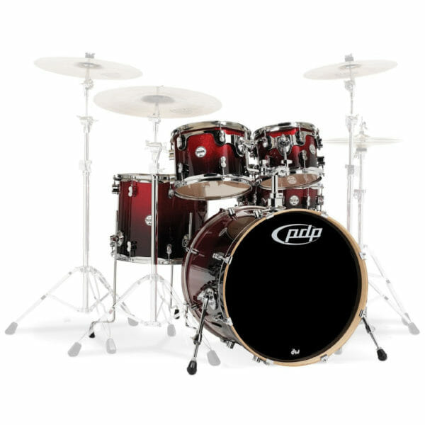 """PDP 22"""" 5 Piece Concept Maple Shell Set Red to Black Sparkle Fade"""