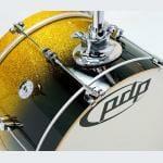 PDP 18 4 Piece Daru Jones Signature Drum Set Yellow to Black Sparkle Fade 2