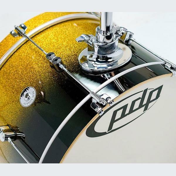 "PDP 18"" 4 Piece Daru Jones Signature Drum Set Yellow to Black Sparkle Fade"