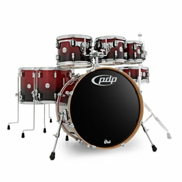 """PDP 22"""" 7 Piece Concept Maple Shell Set Red to Black Sparkle Fade"""