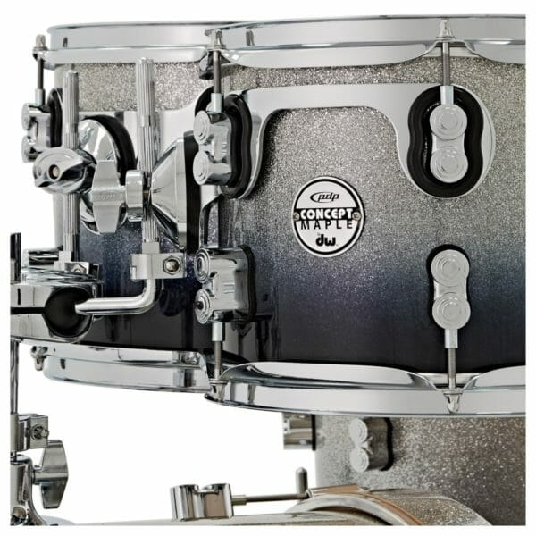 """PDP 22"""" 7 Piece Concept Maple Shell Set Silver to Black Sparkle Fade"""
