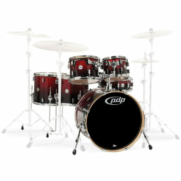 """PDP 22"""" 6 Piece Concept Maple Shell Set Red to Black Sparkle Fade"""