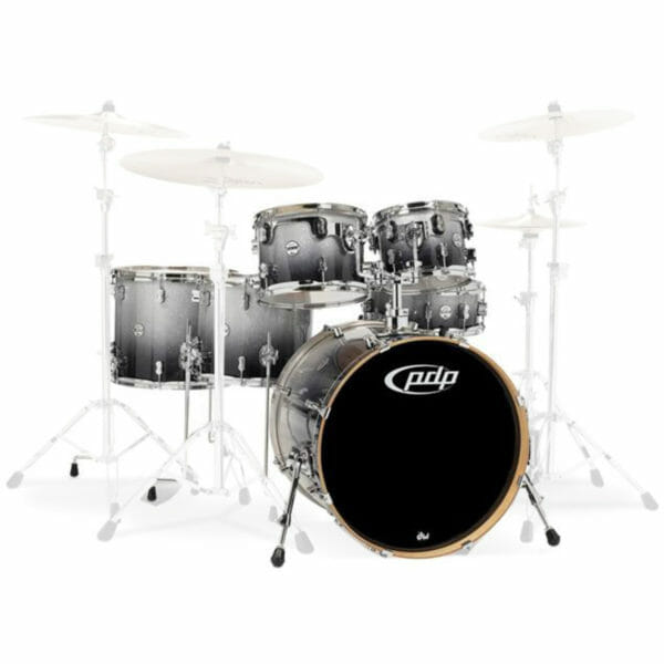 """PDP 22"""" 6 Piece Concept Maple Shell Set Silver to Black Sparkle Fade"""