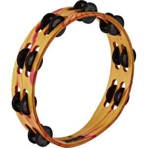 Meinl Viva Rhythm Wood Tambourine, 2 Rows, Black Plated Steel Jingles, Red/Orange Marble Finish