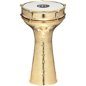 """MEINL Darbukas are made in the tradition of the original, esoteric goblet-shaped drums found in music from Eastern Europe, the Middle East and Southern Asia. Our darbukas are constructed from thin shells in various metals, each metal giving the different models their special timbre. The head is secured and tuned with external rings set close to the shell, in the Turkish-Style. Light yet powerful, the darbukas have a deep full bass. They are well suited for high-pitched snapping sounds as well as a wide range of articulated """"doum"""" and """"tak"""" strokes."""