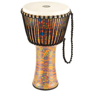 "Meinl Rope Tuned Travel Series Djembe 14"", Kenyan Quilt, Goat Head"