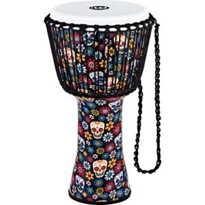"""Meinl Rope Tuned Travel Series Djembe 12"""", Day Of The Dead, Synthetic Head"""