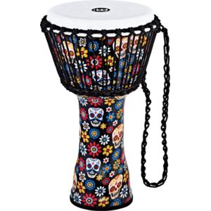 """Meinl Rope Tuned Travel Series Djembe 10"""", Day Of The Dead, Synthetic Head"""