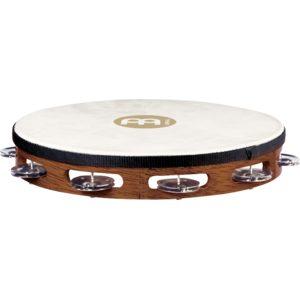 Meinl Traditional Goatskin Wood Tambourine 1 Row, Steel Jingles, African Brown