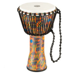 "Meinl Rope Tuned Travel Series Djembe 10"", Kenyan Quilt, Synthetic Head"