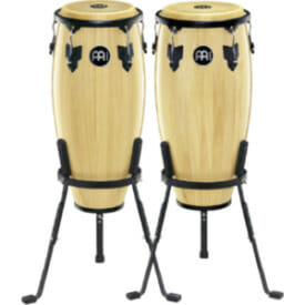 "Meinl Headliner Series Conga Sets 10 and 11"" Wood Conga Set, Incl. Basket Stands, Natural"