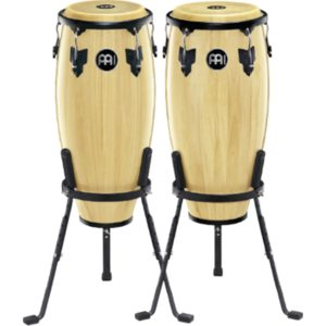 """Meinl Headliner Series Conga Sets 10 and 11"""" Wood Conga Set, Incl. Basket Stands, Natural"""
