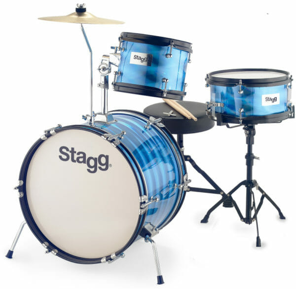 """Stagg 3-Piece Junior Drum Set With Hardware, 8"""" / 10"""" / 16"""", Blue"""