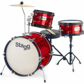 "Stagg 3-Piece Junior Drum Set With Hardware, 8"" / 10"" / 16"", Red"