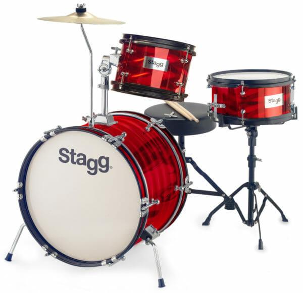 """Stagg 3-Piece Junior Drum Set With Hardware, 8"""" / 10"""" / 16"""", Red"""