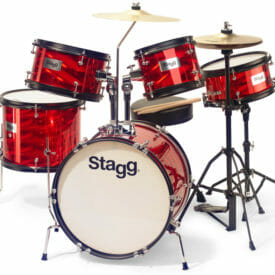 Stagg 5-Piece Junior Drum Set With Hardware And Throne - Red