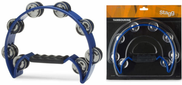 Stagg Cutaway Plastic Tambourine With 16 Jingles - Blue