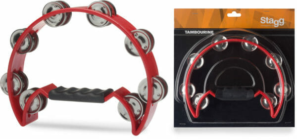 Stagg Cutaway Plastic Tambourine With 16 Jingles - Red