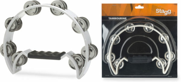 Stagg Cutaway Plastic Tambourine With 16 Jingles - White