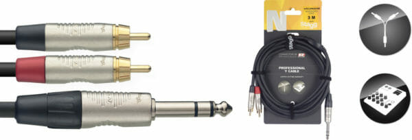 Stagg N Series Y-Cable, Jack/Rca (M/M), Stereo, 3 M (10')