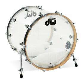 "DW Design Series 22"" x 18"" Bass Drum, Seamless Acrylic, Clear"