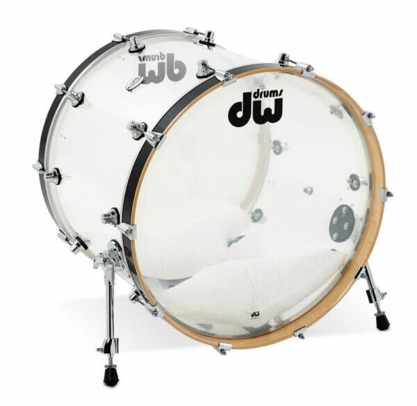 "DW Design Series 22"" x 18"" Bass Drum, Seamless Acrylic, Clear"