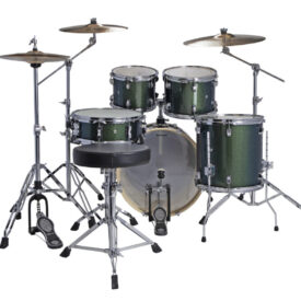 "Ludwig 22"" Evolution 5 Piece Drum Kit With Hardware - Green Sparkle"