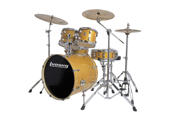 """Ludwig 22"""" Evolution 5 Piece Drum Kit With Hardware - Gold Sparkle"""