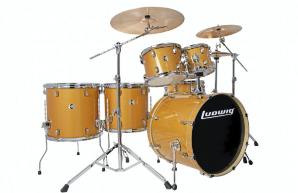 """Ludwig 22"""" Evolution 6 Piece Drum Kit With Hardware - Gold Sparkle"""