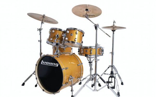 """Ludwig 20"""" Evolution 5 Piece Drum Kit With Hardware - Gold Sparkle"""