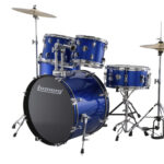 Ludwig 22 Accent Fuse 5 Piece Drum Kit with Hardware, Throne and Cymbals – Blue Foil
