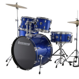"""Ludwig 22"""" Accent Fuse 5 Piece Drum Kit with Hardware, Throne and Cymbals - Blue Foil"""