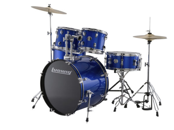 "Ludwig 22"" Accent Fuse 5 Piece Drum Kit with Hardware, Throne and Cymbals - Blue Foil"