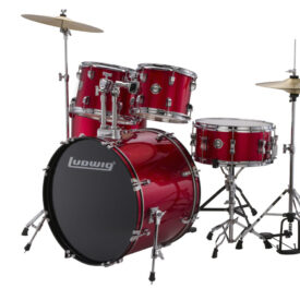 """Ludwig 22"""" Accent Fuse 5 Piece Drum Kit with Hardware, Throne and Cymbals - Red Foil"""