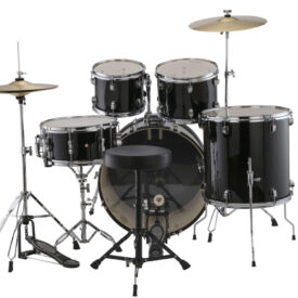 """Ludwig 22"""" Accent Fuse 5 Piece Drum Kit with Hardware, Throne and Cymbals - Black Cortex"""