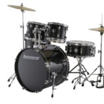 Ludwig 22 Accent Fuse 5 Piece Drum Kit with Hardware, Throne and Cymbals – Black Cortex