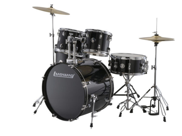 "Ludwig 22"" Accent Fuse 5 Piece Drum Kit with Hardware, Throne and Cymbals - Black Cortex"