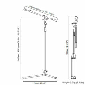 Tama MS436BK Telescopic Boom Stand Dimensions